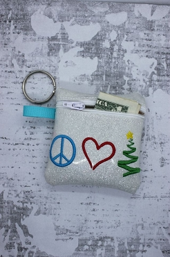 Peace, Love, Christmas Zipper Bag Embroidery Design (4x4)